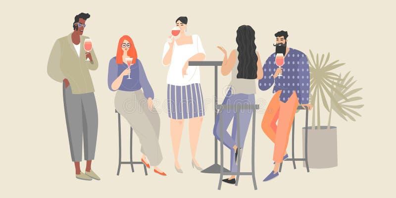 Un gruppo di giovani divertendosi in un caffè I tipi e le ragazze bevono il vino ed i cocktail ad un partito illustrazione vettoriale