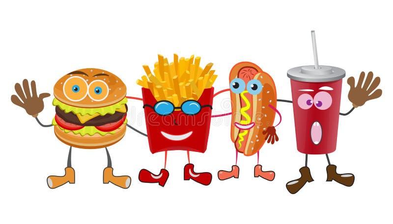 Un gruppo di pasti rapidi amichevoli su fondo bianco illustrazione di stock