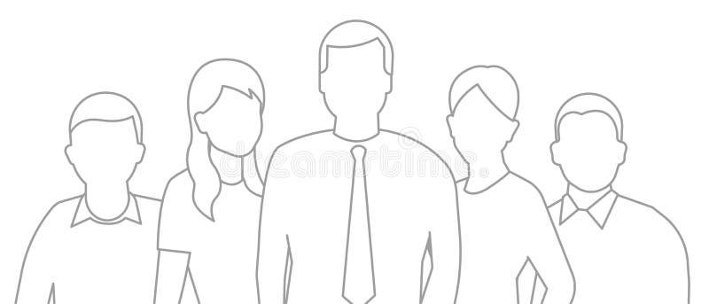 Un gruppo di persone, gruppo dei lavoratori teamwork Direzione di associazione del lavoro Uomini e donne nell'affare Insegna oriz illustrazione di stock