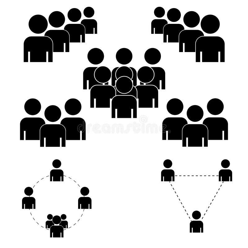 Un gruppo di persone o i gruppi di utenti Icona piana di vettore degli amici per le applicazioni ed i siti Web Icone nere su un f illustrazione vettoriale