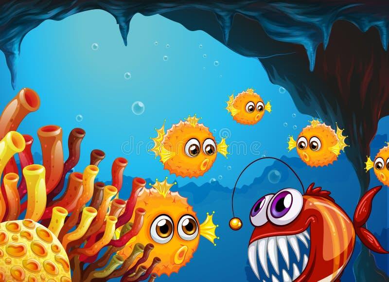Un gruppo di pesci della soffiatore e di piranha spaventoso dentro la caverna illustrazione di stock