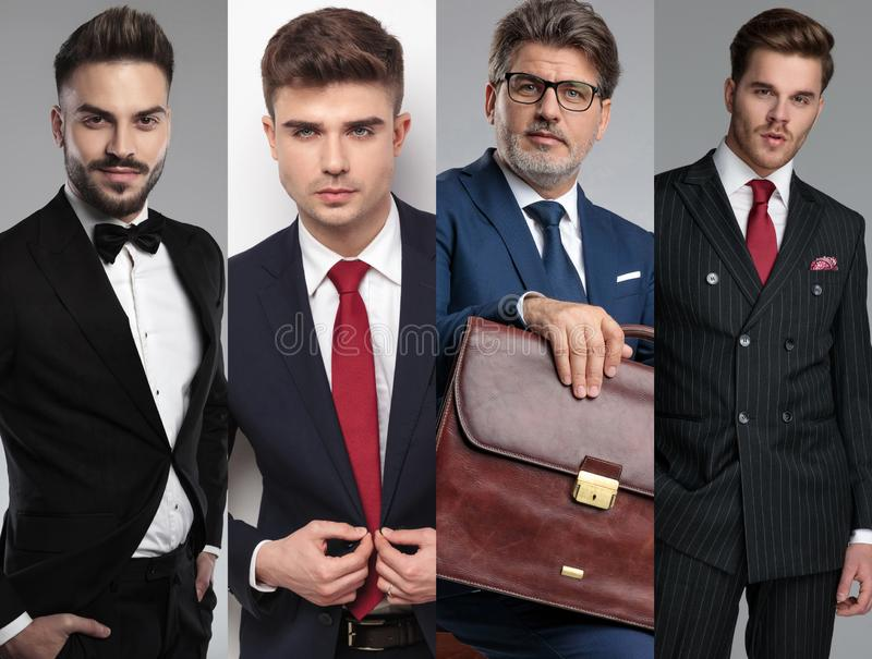Un gruppo di quattro uomini attraenti che posano in un'immagine del collage fotografia stock