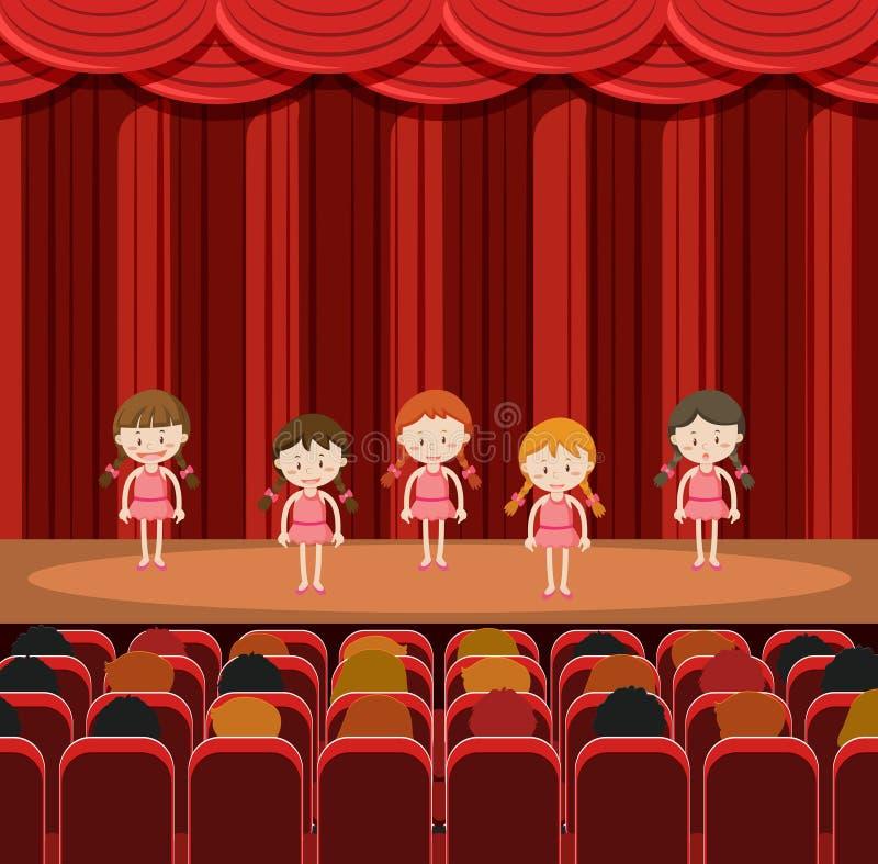 Un gruppo di ragazze che eseguono in scena royalty illustrazione gratis