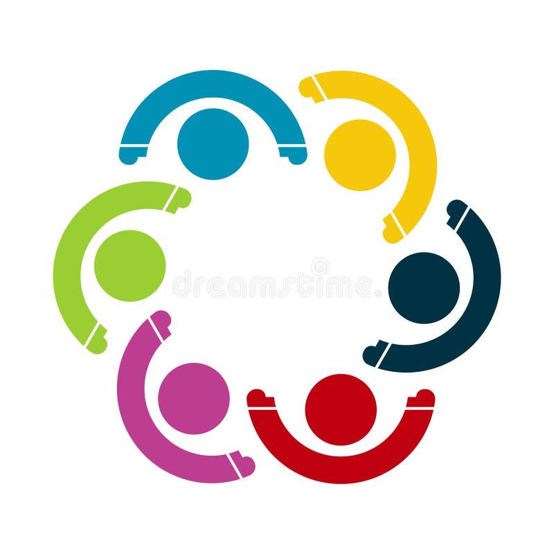 Un gruppo di sei persone nel cerchio Sorelle che tengono le mani I lavoratori della sommit? stanno incontrando nella stessa stanz royalty illustrazione gratis