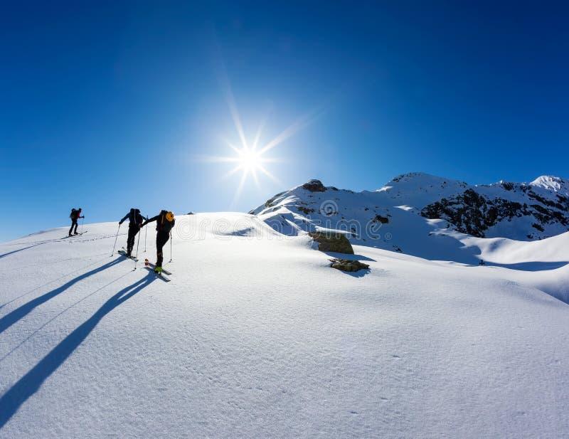 Un gruppo di skialpers funziona insieme per raggiungere la sommità della montagna fotografie stock libere da diritti