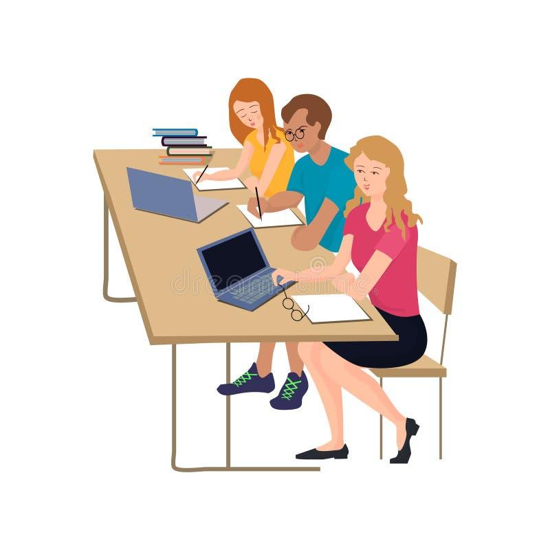 Un gruppo di studenti, le ragazze e un tipo sono sedentesi e scriventi una conferenza alla tavola illustrazione vettoriale