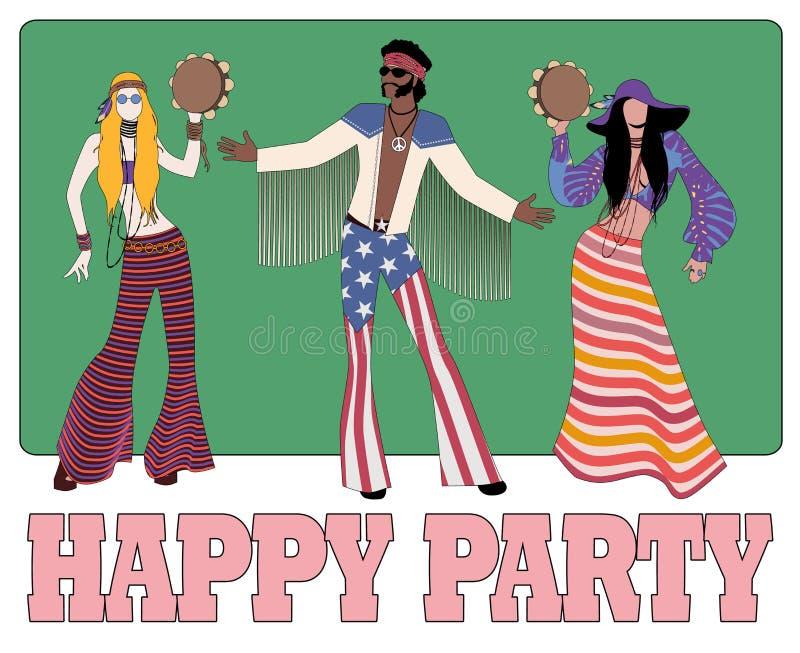 Un gruppo di tre, due ragazze che giocano i tamburini ed i vestiti d'uso di un hippy del ragazzo degli anni 60 e del 70s royalty illustrazione gratis