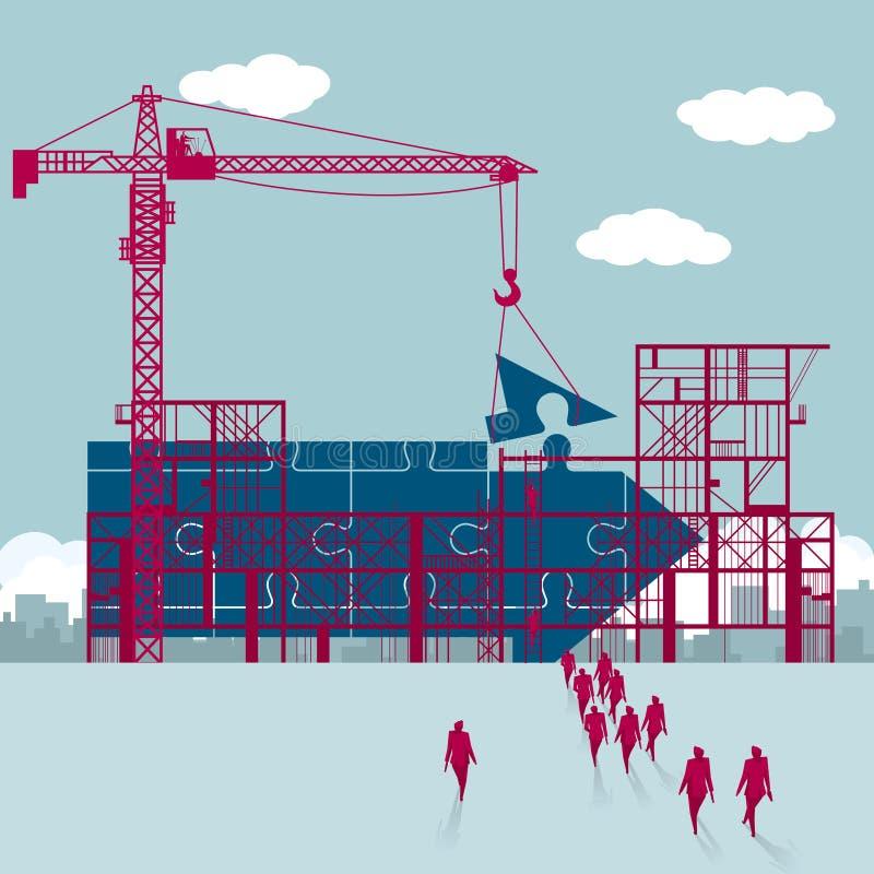 Un gruppo di uomini d'affari ha camminato al cantiere Una freccia di puzzle sta facenda illustrazione di stock