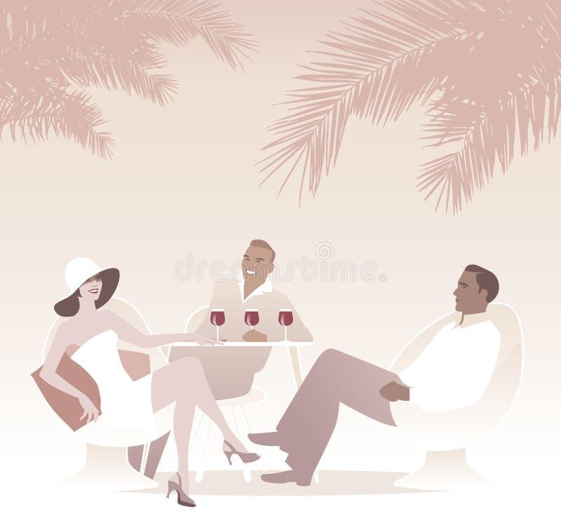 Un gruppo di vino rosso bevente tre sotto le palme Retro scena di estate di stile royalty illustrazione gratis