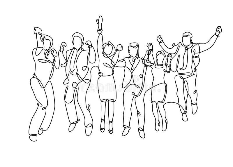 Un gruppo tirato continuo della linea di affare royalty illustrazione gratis