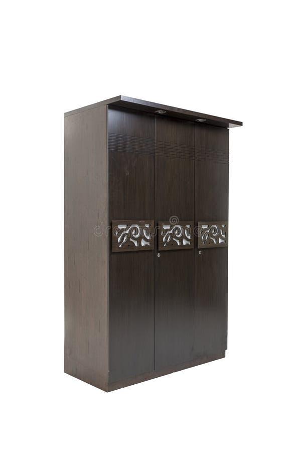 Un guardaroba di legno di tre porte fatto di compensato e vinear con il lavoro del progettista su  Isolato con priorità bassa bia fotografia stock