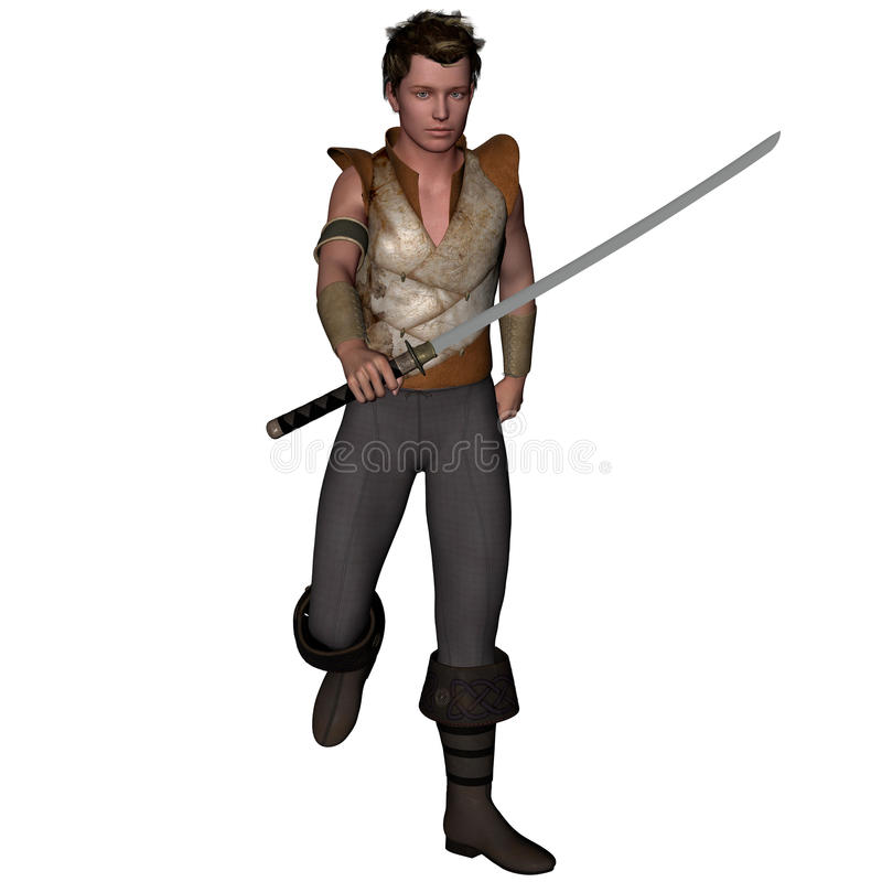 Un guerrero a partir de un rato antiguo en armadura ligera con una espada stock de ilustración