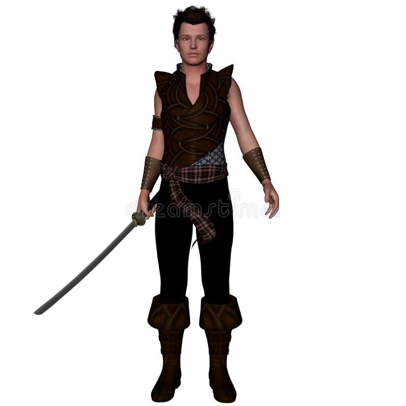 Un guerrero a partir de un rato antiguo en armadura ligera con una espada ilustración del vector