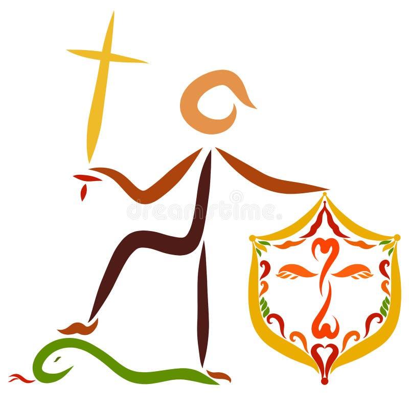 Un guerrier chrétien avec une épée sous forme de croisé et de SH illustration stock