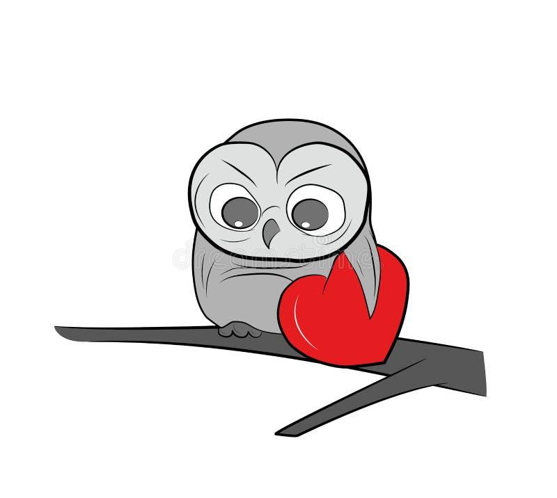 Un gufo tiene il cuore Giorno felice del `s del biglietto di S Illustrazione di vettore royalty illustrazione gratis