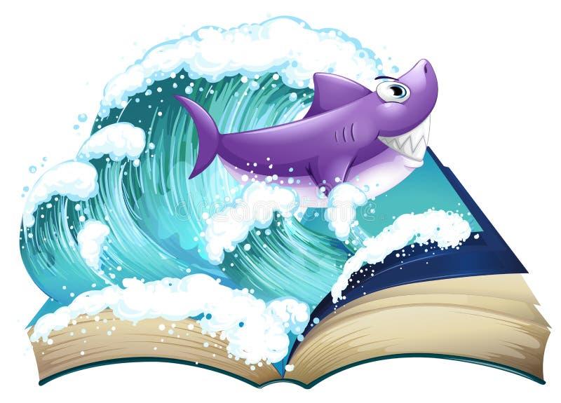 Un guión con un tiburón y una onda grande stock de ilustración
