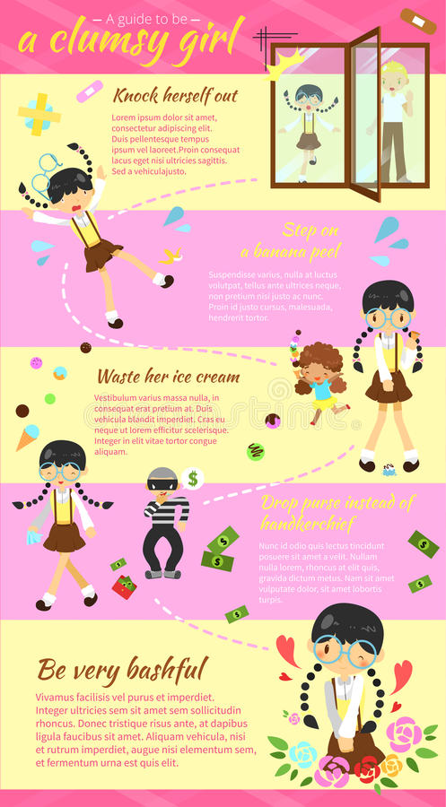 Un guide à être une conception infographic W de disposition de calibre de fille maladroite illustration libre de droits