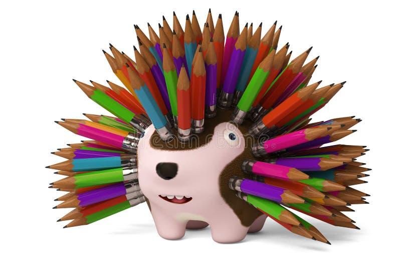 Download Un Hérisson De Bande Dessinée, Crayon Dans Le Dos Rendu 3d Illustration Stock - Illustration du mignon, peint: 87705162