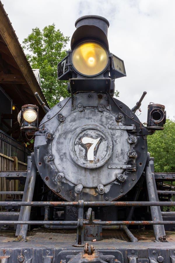 Un H K Porter Steam Engine se coloca en la exhibición estática en el pueblo de la herencia en parque de la herencia en McDonough, imagen de archivo libre de regalías