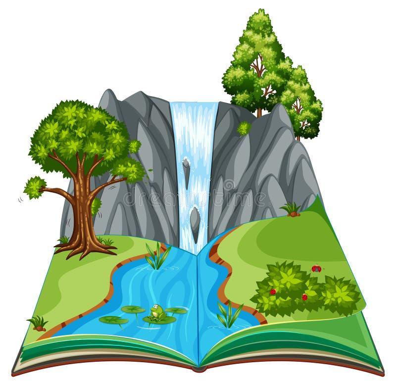 Un hacer estallar encima del paisaje del libro ilustración del vector
