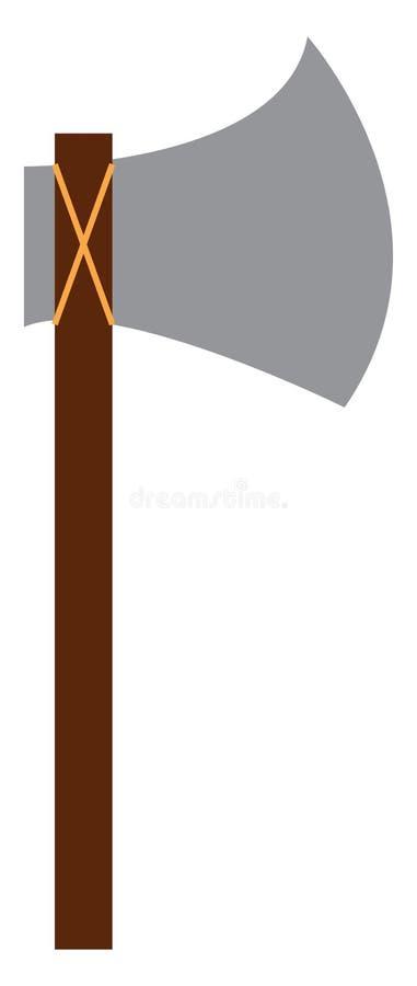 Un hacha afilado con mango largo de madera utilizado para cortar maderas de dibujo o ilustración vectorial ilustración del vector