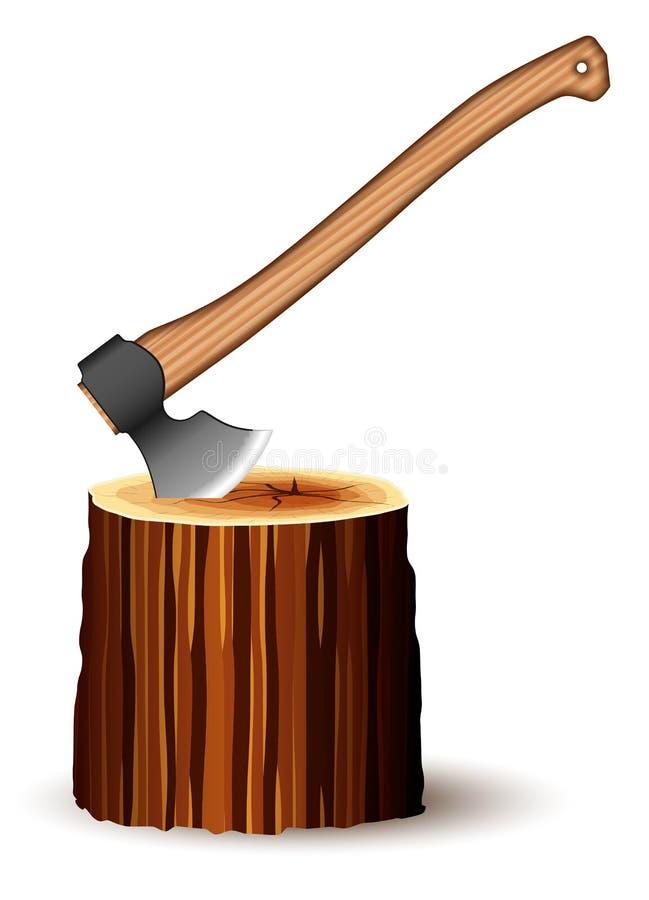 Un hacha enorme con una manija de madera cómoda y una cuchilla aguda Pegado en el tocón Herramienta para el trabajo del construct stock de ilustración
