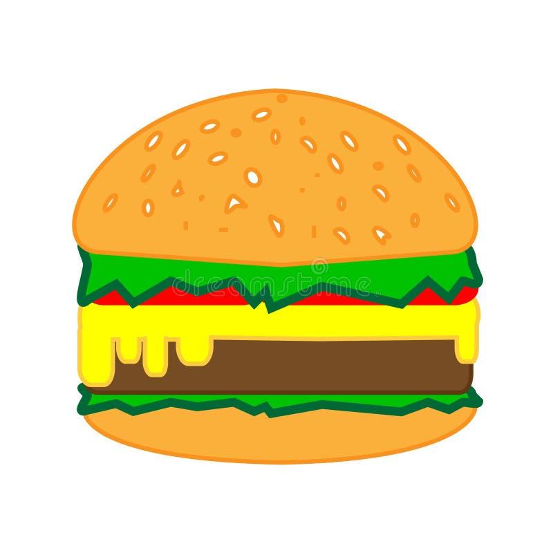 Un hamburger délicieux et appétissant avec une côtelette et d'autres ingrédients illustration de vecteur
