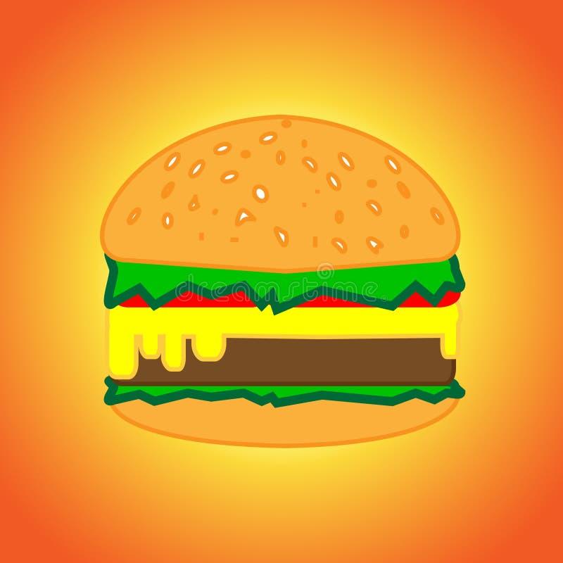 Un hamburger délicieux et appétissant avec une côtelette et d'autres ingrédients illustration stock