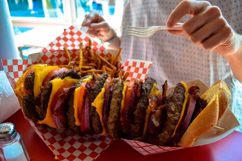 Un hamburger impilato enorme e fritture immagine stock