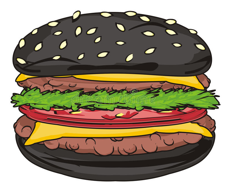 Un hamburger nero illustrazione di stock