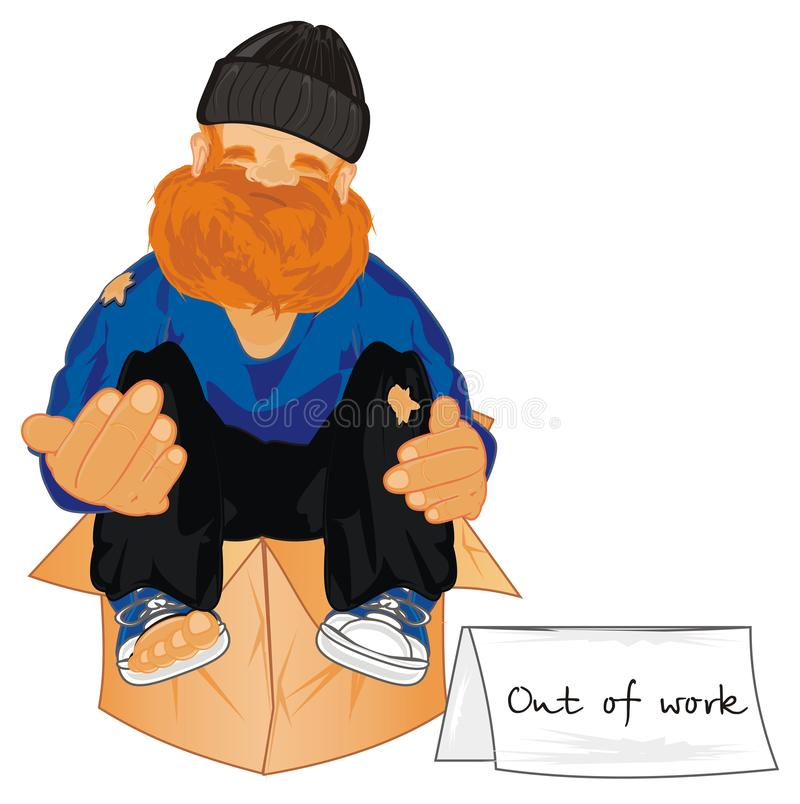 Homeless out of work. Un happy homeless sit on paper box and out of work royalty free illustration