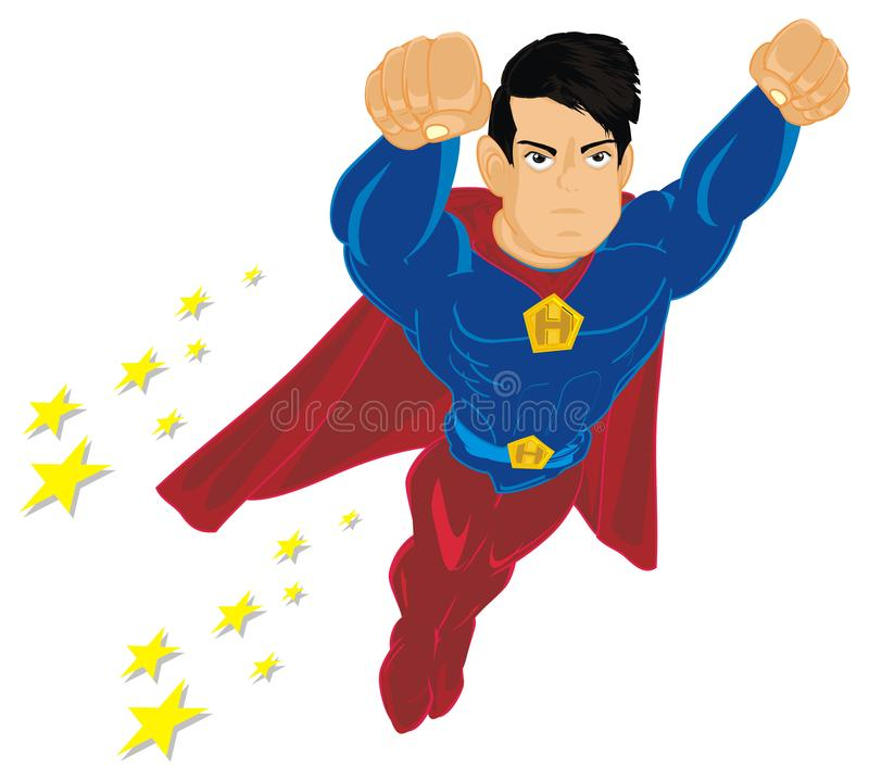 Superman with stars. Un happy superhero flyig with many yellow stars vector illustration