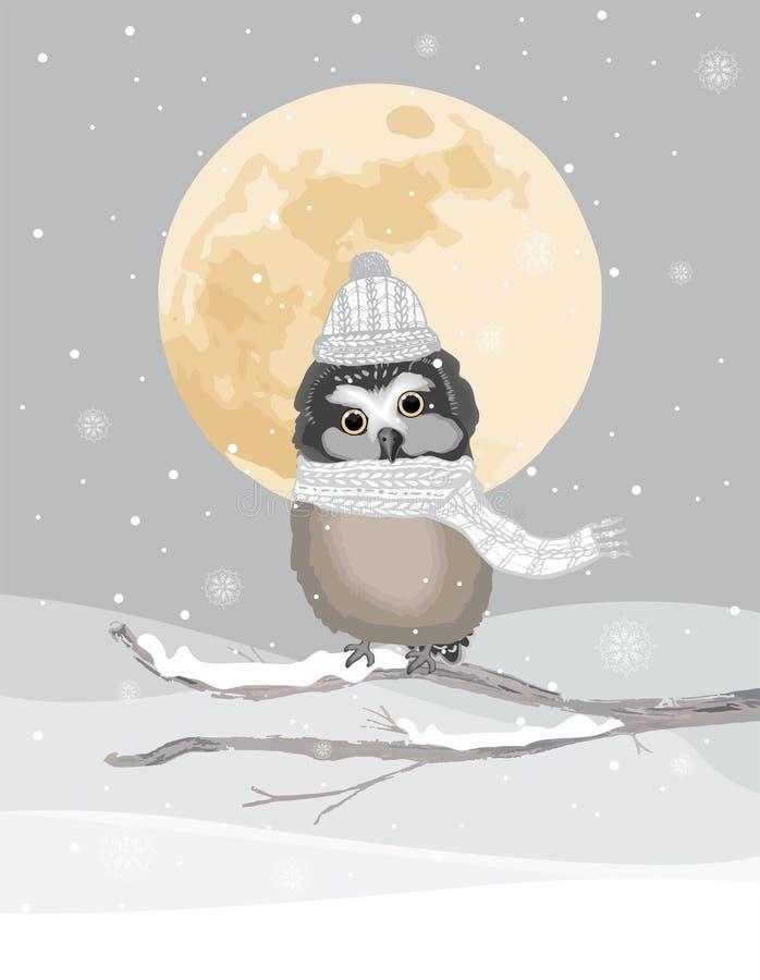 Un hibou mignon avec le chapeau et l'écharpe tricotés sur un fond gelé d'hiver image libre de droits