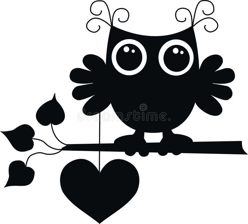 Un hibou noir avec un grand coeur illustration libre de droits