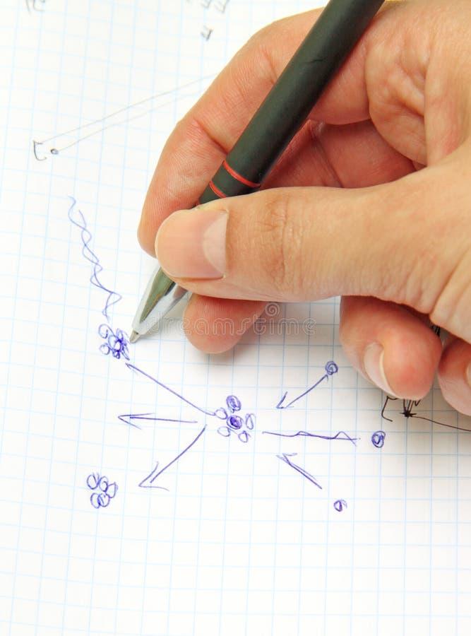 Un holdin de main un crayon lecteur et une feuille de papier image stock