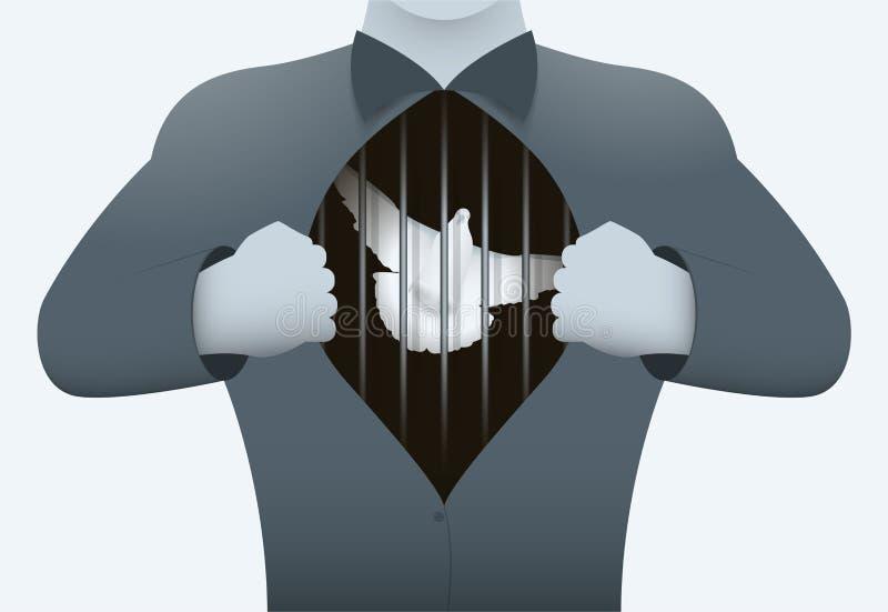 Un hombre abre un pecho que muestra dentro de un pájaro en una jaula El concepto no está libre al alma del hombre ilustración del vector
