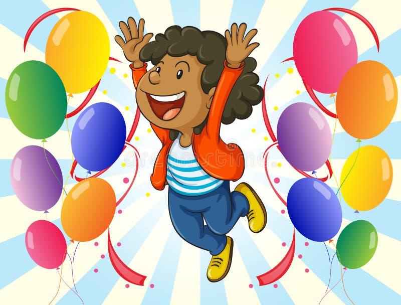 Un hombre alegre con los globos ilustración del vector