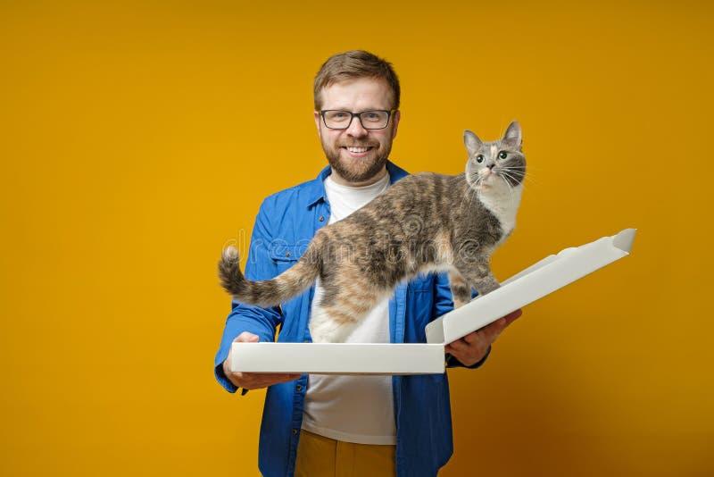 Un hombre alegre y sonriente sostiene en las manos una caja de pizza vacía en la que su adorable gato trepó, sobre un fondo amari foto de archivo libre de regalías