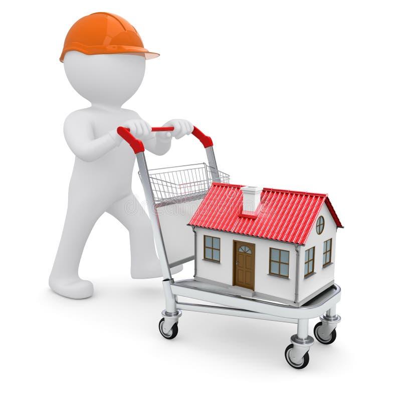 Un hombre blanco en un casco y una casa en la carretilla libre illustration