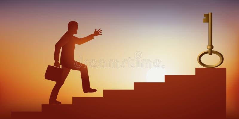 Un hombre busca una solución a su problema subiendo las escaleras para agarrar una llave stock de ilustración