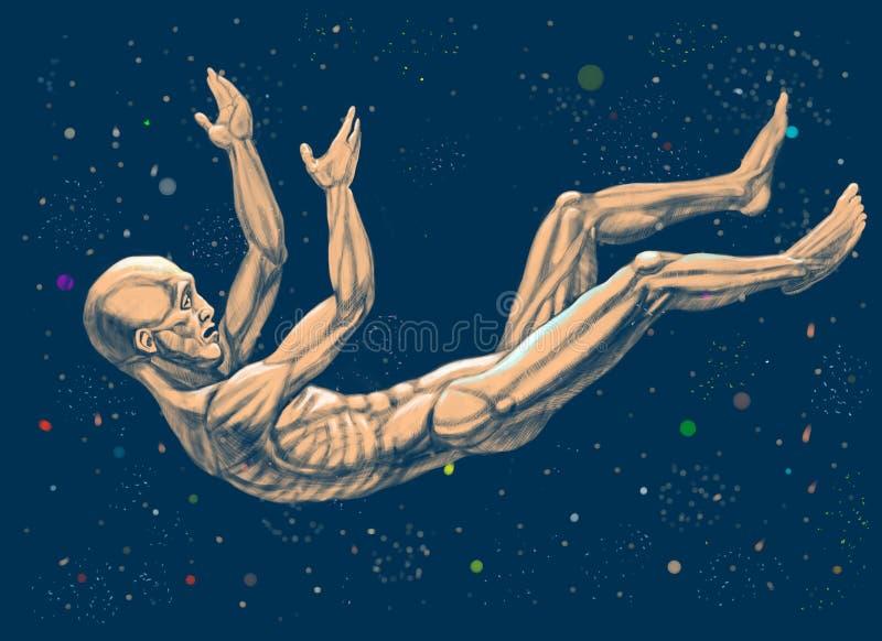 Un hombre cae abajo en la nesciencia del cosmos libre illustration