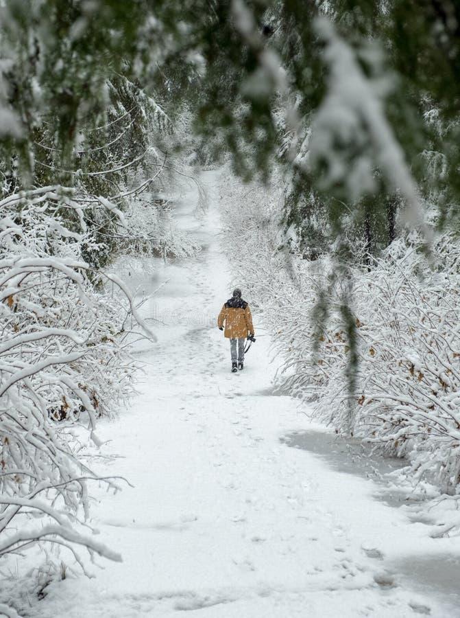 Un hombre camina a través de la nieve que sostiene una cámara fotografía de archivo