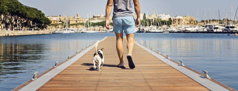 Un hombre con un perro que camina en el embarcadero de flotación imagen de archivo libre de regalías