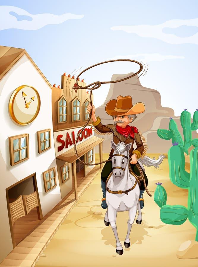 Un hombre con un montar a caballo de la cuerda en un caballo ilustración del vector