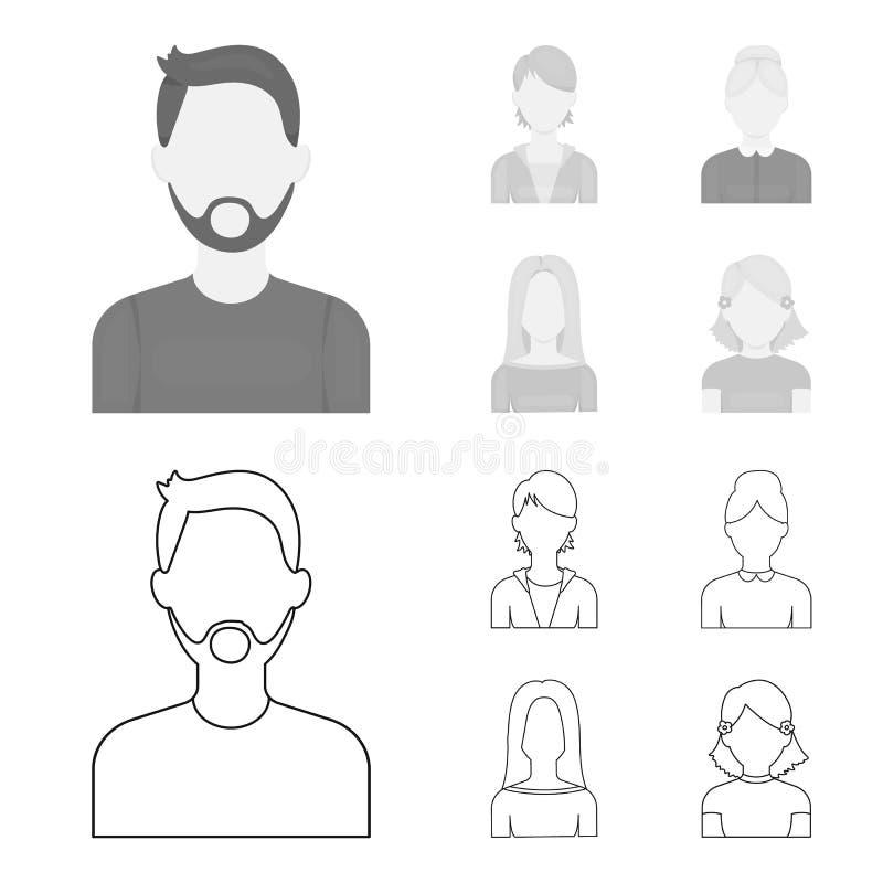 Un hombre con una barba y un bigote, muchacha pelirroja, mujer mayor, blonde Iconos determinados de la colección de Avatar en esq stock de ilustración