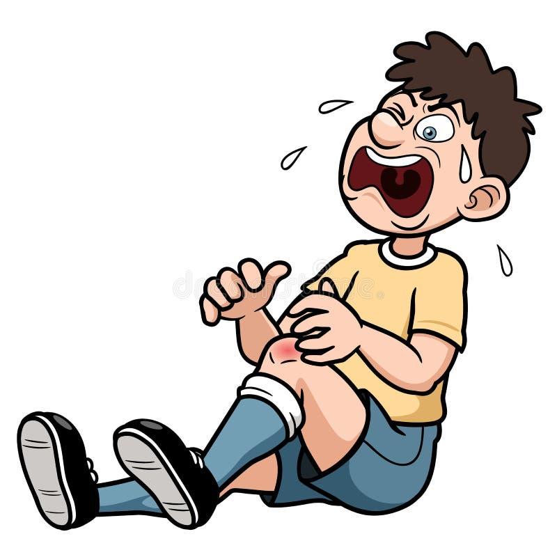 Un hombre con una lesión en la pierna dolorosa stock de ilustración