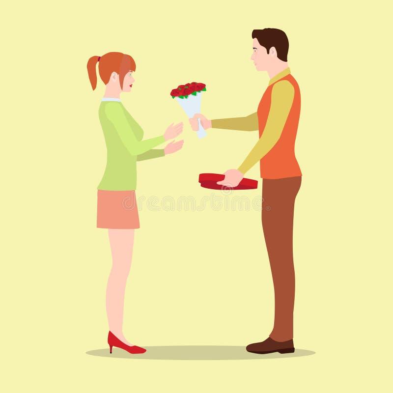 Un hombre da a su novia flores y una caja de chocolates ilustración del vector