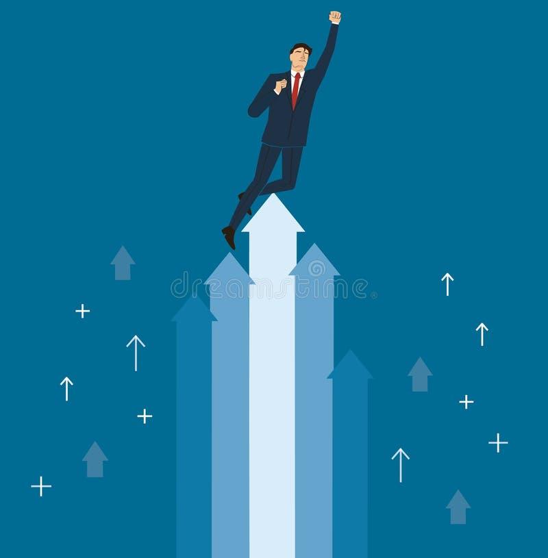 Un hombre de negocios al vector del éxito, ejemplo del concepto del negocio ilustración del vector