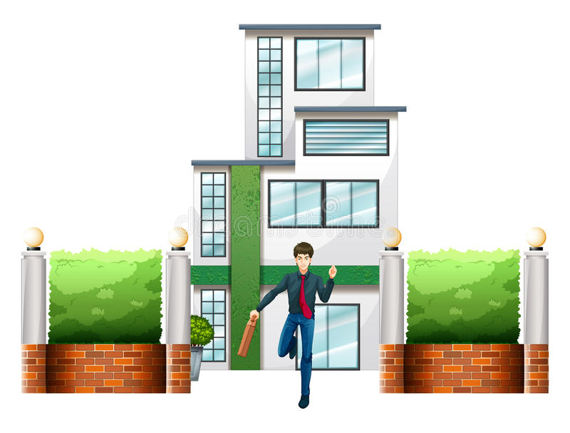 Un hombre de negocios corriente fuera del edificio alto libre illustration