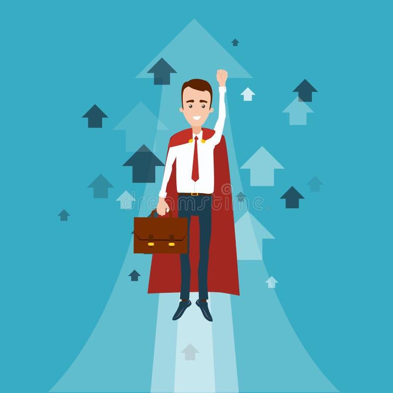 Un hombre de negocios del super héroe con una cartera en su mano voló para arriba Muchas flechas que señalan hacia arriba ilustración del vector